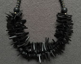 black onyx and coconut bead necklace
