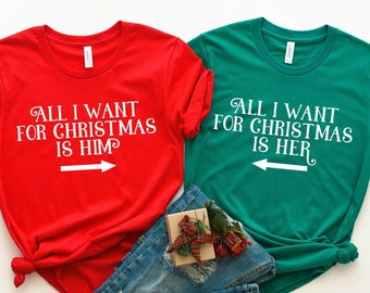 0d3b2f0ed9 His and Hers Christmas Shirts, All I Want for Christmas Shirt Christmas  Couple Shirts, Christmas Shirt Set Matching Christmas Pajamas Family