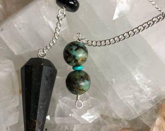 BLACK TOURMALINE PENDULUM hand made, one of a kind, reiki infused pendulum.