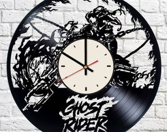 Ghost Rider Marvel Comics vinyl clock handmade home bedroom living kids room nursery wall decor gifts idea for birthday men women