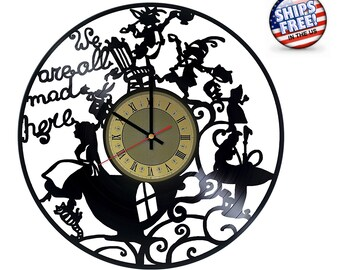 Alice in Wonderland vinyl clock Cheshire Cat gifts wall art unique birthday gift idea for him and her nursery kids room decor girls and boys