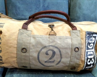 da63bcd6e22 Up Cycle Washed Waxed Canvas Duffel Bag, Duffle Bag, Weekender Bag With  Genuine Leather Handle   Hand painted Black Canvas Bag Gift For Him