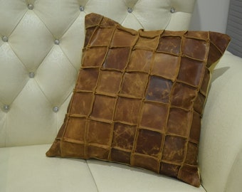 Genuine Leather Pillow Cover TAN Decorative for Couch Throw Pillow Case Cover