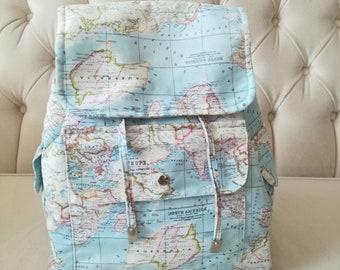 World map bag etsy digital printed fabric backpack bag world map backpack world map bag worldmapbag gumiabroncs Images