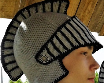 dbfd280614e Knitted helmet of the knight Men hat Knitted knight helmet Gift for men.  KnittedGiftsFinds.  47.00 FREE shipping
