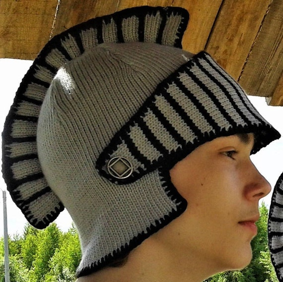 Knitted helmet of the knight Men hat Knitted knight helmet  112aeb109b9