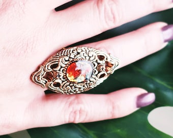 Vintage Button Ring, Handmade Ring, Maxi Ring, Gold Ring, Statement Ring, Adjustable Ring, Rare ring, Embroidered Ring, Gifts for Her