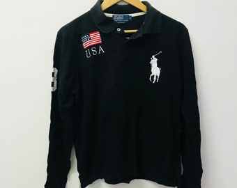 Free Shipping!! Vintage Polo Ralph Lauren Long Sleeve Large Size