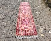 pale color vintage herki runner rug, 2.6 x 12.5 ft. free shipping, bohemian runner rug, vintage hallway runner rug, kitchen rug MB2229