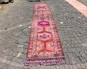 vintage aztec rug, runner rug, anatolian runner rug, free shipping 2.7 x 12.7 ft. boho runner rug, oushak rug, herki rug, area rug, MB2264