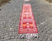 vintage aztec runner rug, herki runner rug, boho runner rug, 2.6 x 13.5 ft. free shipping, runner rug, turkish runner rug, wool rug, MB2234