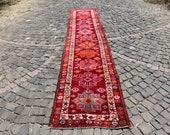 runner rug, 2.6 x 12.9 ft. free shipping, turkish rug, vintage herki rug, hallway rug, anatolian rug, decorative rug, tribal rug, MB2253