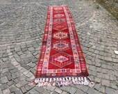 vintage wool rug, herki rug, bohemian runner rug, 2.6x 12.5 ft. free shipping, turkish rug, anatolian carpet, vintage rug, floor rug, MB2231