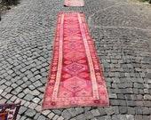 runner rug, vintage boho rug, herki rug, 2.7 x 12.5 ft. decorative runner rug, area rug, nomadic wool runner rug, hallway area rug, MB2243