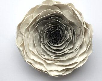 Porcelain flower etsy ranunculus porcelain flower wall tile ceramic flower wall flower white gray wall sculpture ceramic wall sculpture ceramic wall art mightylinksfo