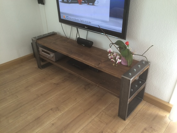 lowboard industrial design tv bank holz metall etsy. Black Bedroom Furniture Sets. Home Design Ideas