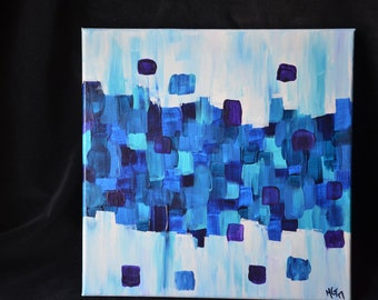 Blue Cubes / Abstract - 12x12 acrylic on canvas painting