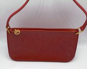 Longchamp Leather Tangerine Orange Zip Bag Purse abc17e856c