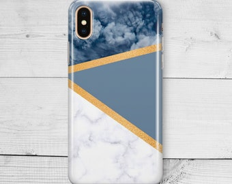 42c66af8d4522f Dark Blue Marble iPhone 8 Plus X iPhone 7 6s plus Geometric Cover iPhone XS  MAX iPhone XR Cover Samsung Galaxy S7 S9 White Case Black Marble