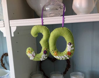 Felt Birthday Numbers, anything from 1-100! handcrafted, made to order for you  in any colour
