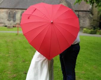 Premium Red Heart Wedding Umbrella Parasol Sun Shade