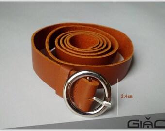 Caramel leather belt
