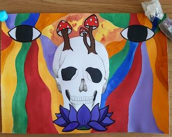 Trippy Skull Original Watercolour Painting