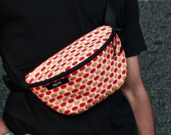 Fanny pack gold glitter, wax print waist bag, sunny colours