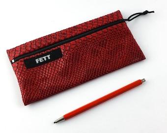 case 'snake', faux leather bag in red, vegan pencil case, makeup bag snake pattern