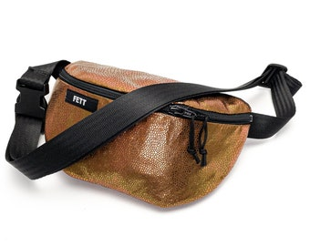 fanny pack holographic glittering, waist bag gold, reptile pattern