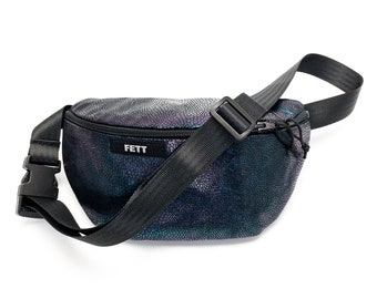 fanny pack holographic glittering, waist bag dark blue, reptile