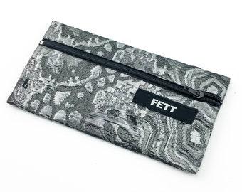 small pencil case, brocade silver glitter, purse for phone
