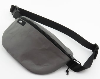 reflective fanny pack, large, water-resistant, with inner pockets, custom