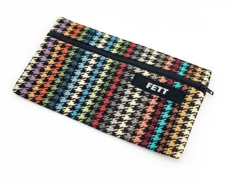 tapestry purse, houndstooth, pencil case, colourful striped
