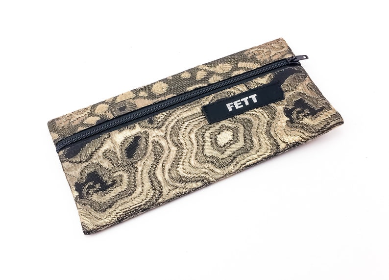 small pencil case brocade gold glitter make up bag iphone image 0
