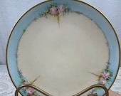 Haviland Limoges salad dessert plate painted by renowned artist, P kawalkowski, art deco style, beautiful shade of blue with pink roses