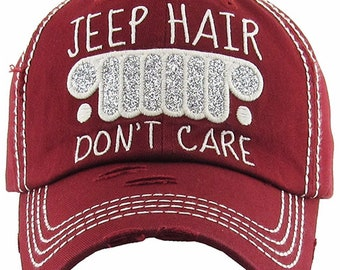 ec94903b5 Womens Jeep Hair Don't Care Distressed Turquoise and Crimson Visor and Ball  Cap, Embroidery Jeep Hair Don't Care Visor