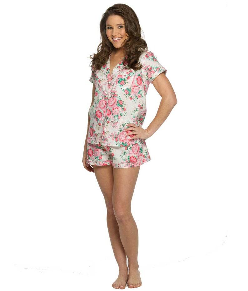 Cotton floral pajama set Bridesmaid gift wedding gift bachelorette pajamas monogram Pajamas