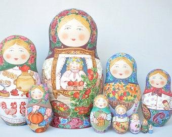 "Matryoshka with Apples, 10 piece Nesting Doll 7'5"" (19 cm), Russian Babushka, Wooden Stacking Doll"