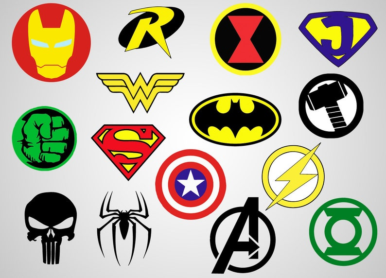 photograph relating to Printable Superhero Logos referred to as Superheroes Emblems - Vinyl Decal - SVG report - Printable - Cricut record