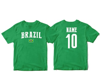 buy popular 0ac5c a2711 Brazil Brasil Sports T-shirt Fan tee Country Pride Men s and Kids Youth  Customized Name and Number