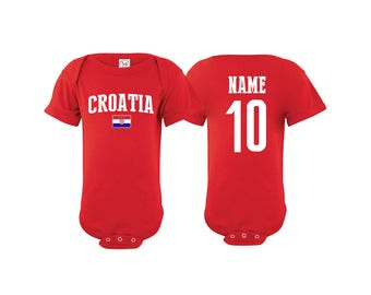 04dca27f4 Croatia Bodysuit Add your Name and Number Infant Clothing Newest Fan  Bodysuit Soccer Baby Outfit Mameluco Infant Girls Boys T shirt - Tee