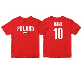 9e89a81a41f Poland Sports T-shirt Fan tee Country Pride Men s and Kids Youth Customized  Name and Number