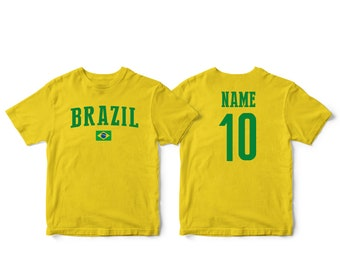 c3f1ad54794 Brazil Brasil Sports T-shirt Fan tee Country Pride Men's and Kids Youth  Customized Name and Number