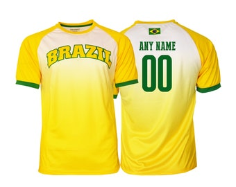 afdc6e92a32 Brazil Soccer Football Tee T-Shirt all sizes Adults Sizes World cup Flag  Jersey Pride Personalized Your Name
