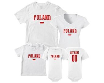 Poland T shirt matching t-shirt set Soccer football Futbol national Team  Men Woman Kids Family Infant Pride Flag 730178b67