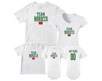 65c940dd320 Team Morocco T shirt matching t-shirt set Soccer football Futbol national  Team Men Woman Kids Family Infant Pride Flag