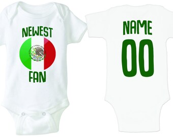 Mexico Bodysuit Add your Name and Number Infant Clothing Newest Fan  Bodysuit Soccer Baby Outfit Girls Boys T shirt - Tee 6a9ed126099