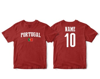 fd452545fba Portugal Sports T-shirt Fan tee Country Pride Men's and Kids Youth  Customized Name and Number