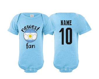 19fac071082 Argentina Bodysuit Add your Name and Number Infant Clothing Newest Fan  Bodysuit Soccer Baby Outfit Mameluco Infant Girls Boys T shirt - Tee